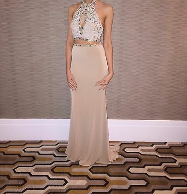 Nude Two Piece Formal Dress