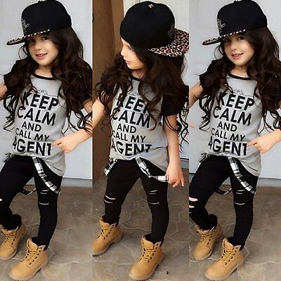 Fashion Toddler Kids Baby Girls Outfit Clothes T-shirt Tops+Long Pants 2PCS Set