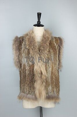 New 100%Real Fashion Knitted Rabbit Fur Vest Gilet with Raccoon Fur Collar Women