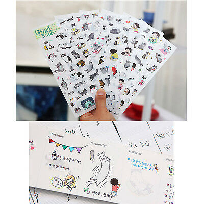 6 pcs/lot cute cat PVC paper sticker diy planner decorative sticker ca