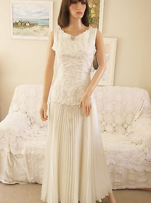 Vintage Cream Ivory Beaded Lace  Satin 1920S Style Wedding Dress Pleated Skirt