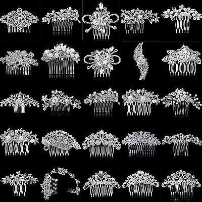 Women Crystal Rhinestone Pearls Hair Clips Flower Diamante Comb Bridal Wedding