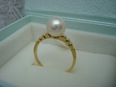 "Authentic   ""MIKIMOTO"" 18k Yellow gold Akoya Pearl Ring"