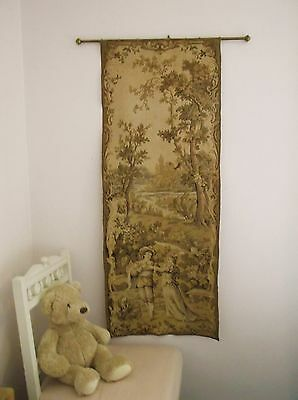 19Th C Antique Vintage French Woven Tapestry Wall Hanging On Pole Country Scene