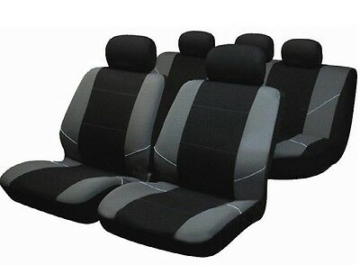 Universal Leo Car Seat Covers Black & Grey Washable Airbag Safe Full 8 Piece Set
