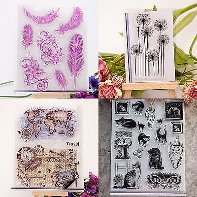 Cute Feather Transparent Silicone Clear Rubber Stamp Sheet Cling Scrapbook DIY