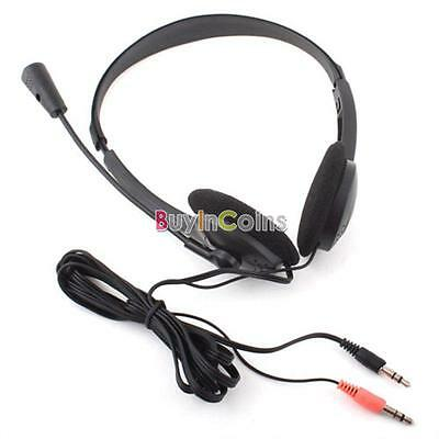 3.5mm Overhead Headphone Headset Microphone For PC Laptop Notebook VOIP Skype YU