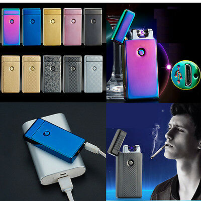 Electric Rechargeable Lighter Dual Arc Flameless Windproof USB Cigarette Lighter