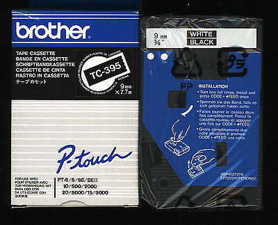 1x ORIGINAL BROTHER TC-395 P-touch 9mm Farbband WHITE / BLACK  f. PT-6/8/10/500
