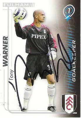 A Shoot Out card Tony Warner at Fulham. Personally signed by him.