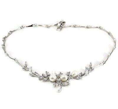 Synthetic Diamond Pearl Necklace Flower CC Bridal Necklace Pearl Earrings