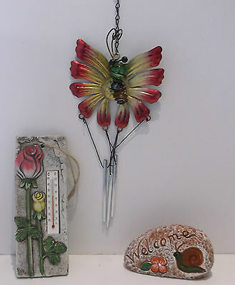 Novelty Garden Gardeners Gift Set Thermometer Wind chime & Welcome Pebble New