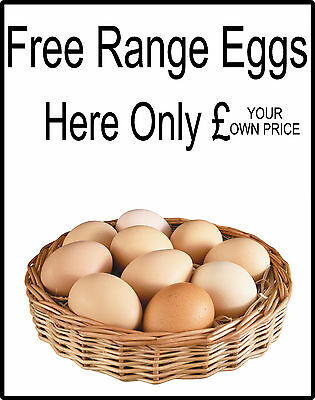 Fresh Free Range Eggs For Sale Sign - Add your own Price, Eggs Sold Here Signs