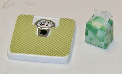 Dollhouse Miniatures Combo, Bathroom Scale & Green Box of Tissues