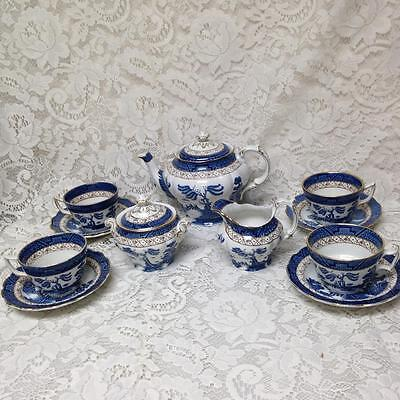 Vintage, Rare, Booths Old Willow A8025, England, 13-pc Blue Willow Tea Set
