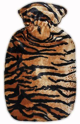Tiger Print Covered Hot Water Bottle - Bottle made in Germany
