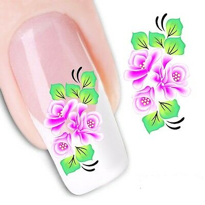 Nail Art Sticker Water Decals Transfer Stickers Pink Flowers (DX1131)