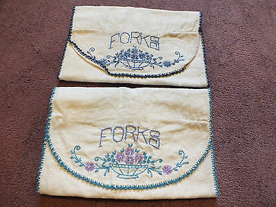 Silverware Roll Up Storage Pouches/Bags Set 2 Embroidered Blue Floral 12@ NICE