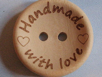 10 Pcs HAND MADE WITH LOVE Natural Wooden Button / Buttons 2 cm / 20 mm HANDMADE