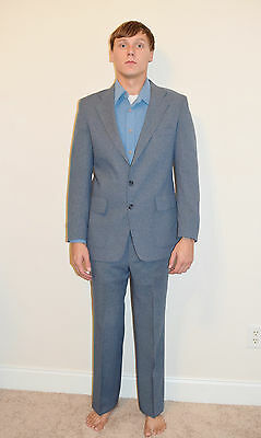 Vintage 70's Men's Mod Disco Blue Poly Levi's Brand Action Suit Size 40 R 32x30