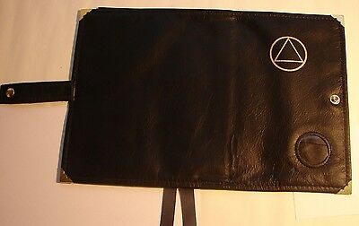 Genuine Leather AA Double Deluxe Alcoholics Anonymous Book Cover Black coin Chip