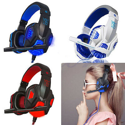 LED Surround Stereo Gaming 3.5mm Headset Headband Headphone USB With Mic for PC