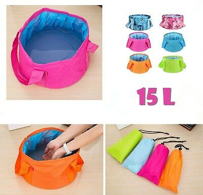 15L Folding Bucket Car Camping Fishing Wash Clean Portable Foldable Water Pot