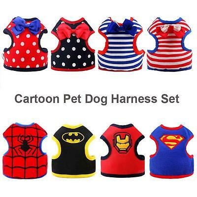 Adjustable Small Pet Dog Cat Harness with Leash Cartoon Puppy Soft Vest Harness~