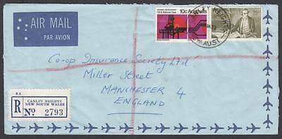 Australia 1972 registered airmail to England with 75c Navigator & 10c Oil
