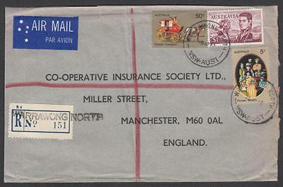Australia 1973 registered airmail to England with $1 Nav & Pioneer 50c & 5c