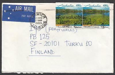 Australia 1989 airmail to Finland with Panorama 55c Top End pair (2)