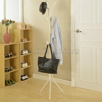 11 Hook Hat Coat Clothes Rack Umbrella Stand Tree Style Steel Hanger White