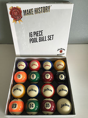 BNIB Genuine Jim Beam Merchandise Boxed Jim Beam Logo 16 Piece Pool Ball Set