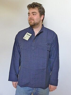 Vintage retro 80s unused M mens blue hippie grandpa shirt as new tags