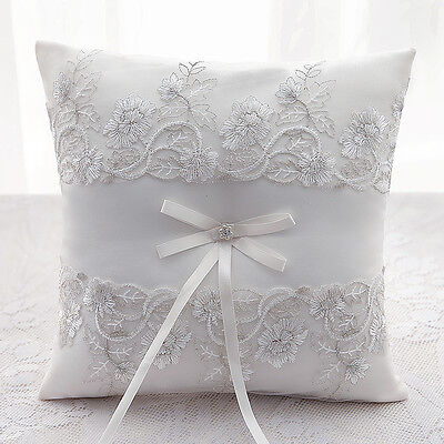 New Wedding Ceremony Ivory Satin & Lace Flower Ring Bearer Pillow Cushion