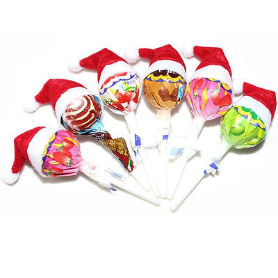 6PCS Cute Mini Santa Claus Hat Christmas Xmas Holiday Lollipop Top Topper Decor