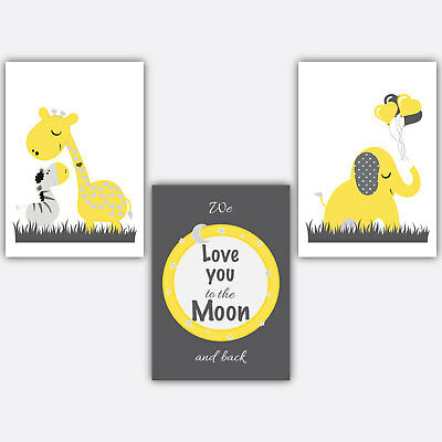 3 Wall Art Nursery Prints Love You To The Moon And Back Yellow & Grey in 5 sizes