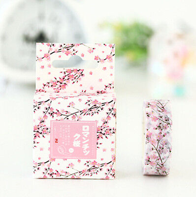 1 Roll Romatic Cherry Blossom 15mmX7M Diary card Adhesives Masking washi Tape