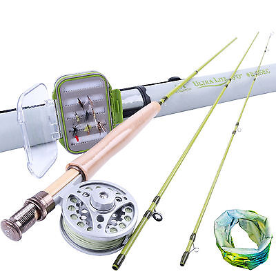 Fly Rod Kit 2WT Aluminum 2/3WT Fly Reel, Fly Line, Fly Box Green Fishing Scarf