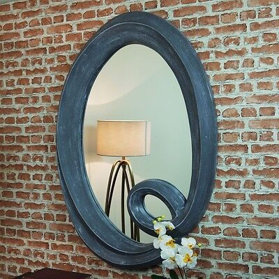 Large Hand Painted Chic Grey Oval Mirror Portrait Wall Hanging Shabby French