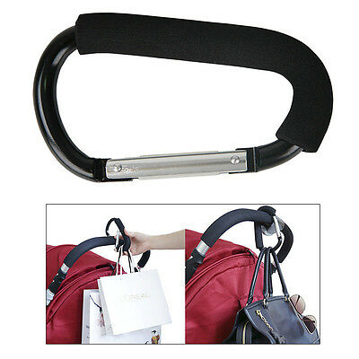 Baby Pushchair Stroller Clip Hook Buggy Pram Carabiner Diaper Bag Hanger Black
