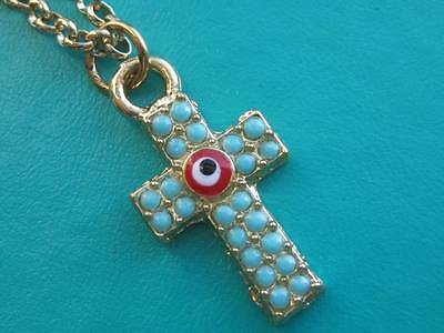 Crucifix Cross Byzantine style with turquoise coloured glass gold tone necklace