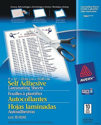"Avery Self-Adhesive Laminating Sheets, 9"" x 12"", Pack of 10 (73603)"