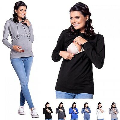 Zeta Ville - Women's breastfeeding top sweatshirt hoodie - nursing panel - 272c