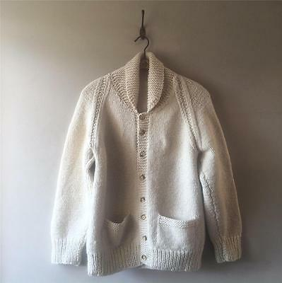 Vintage 1950s/60s USA Men's Cowichan Hand Knit Wool Jumper Cardigan Sweater M L
