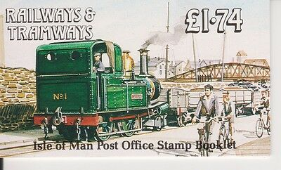 Isle Of Man Railways & Tramways Stamp Booklet 1990 Sb24 Mnh 10% Off Any 5+