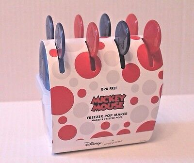 Disney Jumping Beans Mickey Mouse Freezer Pop Molds Popsicle Set Blue & Red NEW