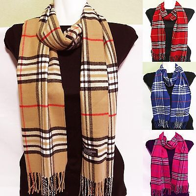 new 100% cashmere super soft, unisex scarf neck warmer scarves plaid design