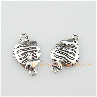 10Pcs Tibetan Silver Tone Sea-fish Charms Pendants Connectors 12.5x21.5mm