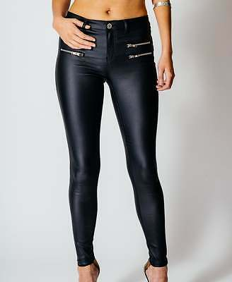 New Womens 4 Zip Leather Look Ladies Skinny Trousers PVC Jeggings sizes 6-14